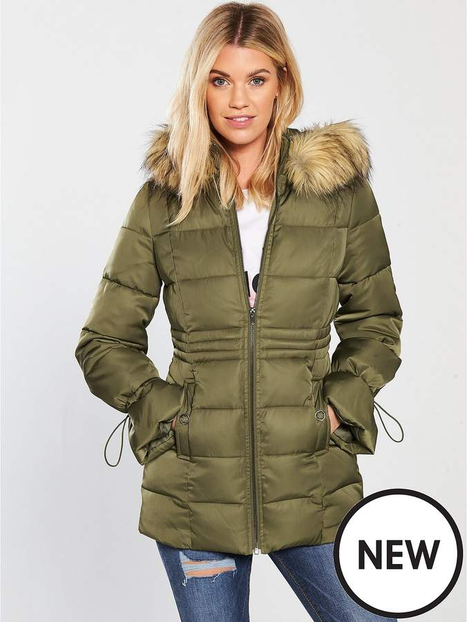 Sateen Padded Jacket With Faux Fur - Khaki