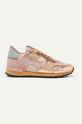 Valentino Garavani Rockrunner Metallic Leather And Suede-trimmed Camouflage-print Canvas Sneakers - Pastel pink