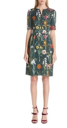 Oscar de la Renta Floral Harvest Cloque Dress