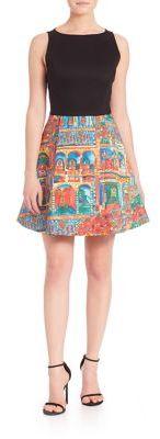 Alice and Olivia Kourtney Havana Print A-Line Dress $368 thestylecure.com