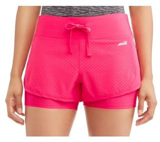 Avia Women's Active Perforated Running Shorts With Built-In Compression Shorts