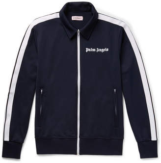 Palm Angels Logo-Print Striped Tech-Jersey Track Jacket
