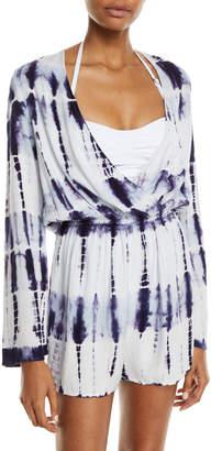 Letarte Tie-Dye Long-Sleeve Coverup Romper