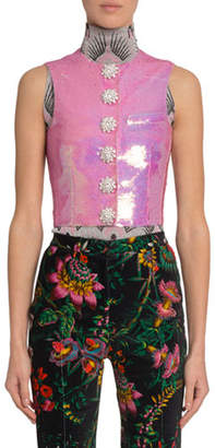 Paco Rabanne Sequined Jewel-Button Vest