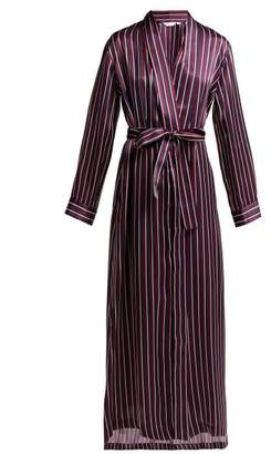Derek Rose Brindisi Striped Silk Robe - Womens - Navy Stripe