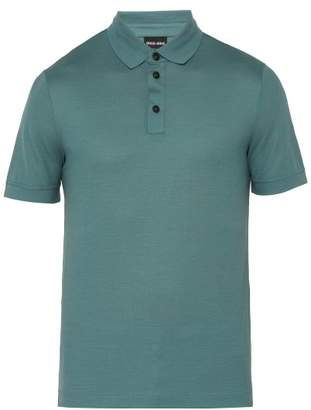 Giorgio Armani Fine Knit Virgin Wool Polo Shirt - Mens - Blue