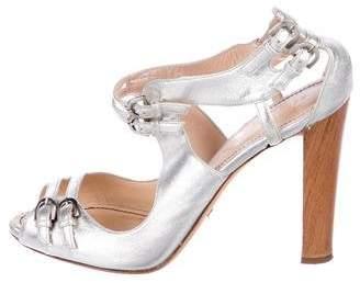 Jerome C. Rousseau Metallic Leather Sandals