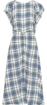 Paper London Dutch Ruched Checked Silk Midi Dress