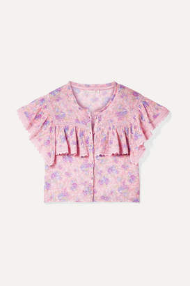 LoveShackFancy Laurel Cropped Crochet-trimmed Floral-print Cotton-crepon Top - Pink