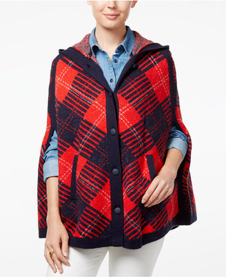 Tommy Hilfiger Helena Hooded Plaid Poncho $149.50 thestylecure.com