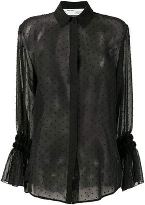 Off-White semi-sheer spotted blouse