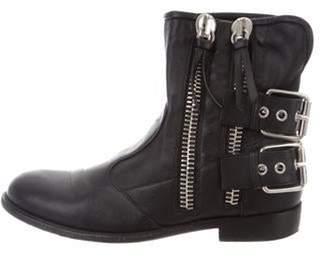Giuseppe Zanotti Leather Round-Toe Ankle Boots Black Leather Round-Toe Ankle Boots