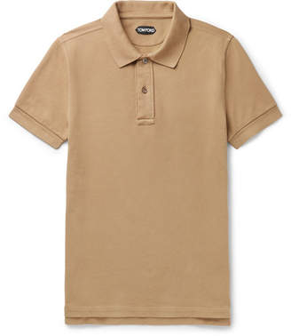 13c61998ca Tom Ford Slim-fit Garment-dyed Cotton-pique Polo Shirt - Camel