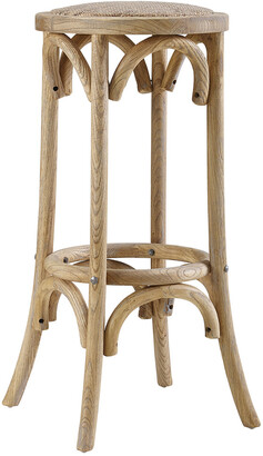 Linon Rae Rattan Seat Backless Bar Stool