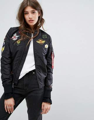 Alpha Industries MA-1 TT Bomber Jacket with Patches $231 thestylecure.com