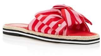 Kate Spade Women's Caliana Striped Bow Flat Sandals