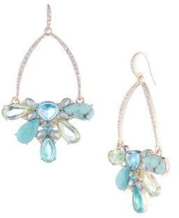 Carolee Turquoise Garden Drama Crystal Cluster Gypsy Earrings