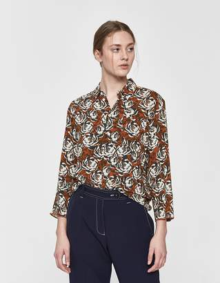 Hope Zand Button-Up Shirt in Rust Floral