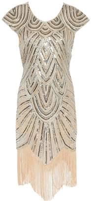 Whoinshop Women 1920s Gatsby Sequin Tassel Beaded Midi Elegant Fringed Flapper Dress L