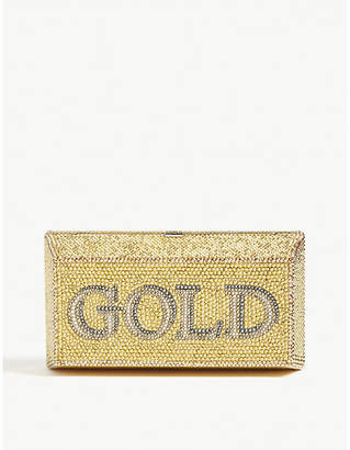 Judith Leiber Exclusive Gold Brick crystal-embellished clutch