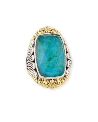 Konstantino North-South Crystal Quartz Over Chrysocolla Doublet Ring