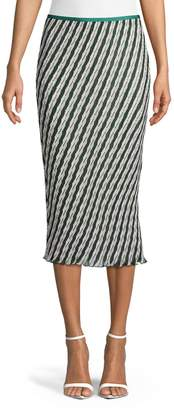 Diane von Furstenberg Gwyneth Striped Midi Skirt