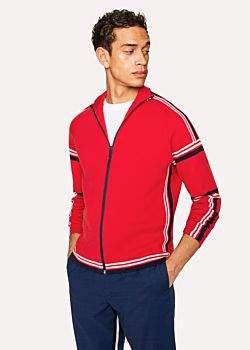 Paul Smith Men's Red Cotton Funnel-Neck Zip-Front Cardigan