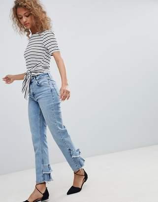 Miss Selfridge Ruffle Back Straight Leg Jeans