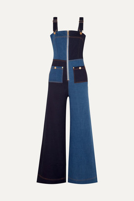Alice McCall Quincy Patchwork Denim Overalls - Mid denim