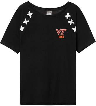 PINK Virginia Tech Crop Lace-Up Raglan Sleeve Tee