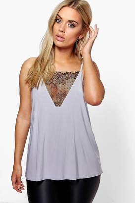 boohoo Plus Lace Detail Cami Top