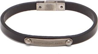 Saint Laurent Logo Engraved Plaque Leather Bracelet - Mens - Black