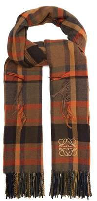 Fringed Tartan Wool Blend Scarf - Womens - Orange