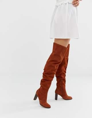 Asos Design DESIGN Kentucky premium suede slouch thigh high boots in tan