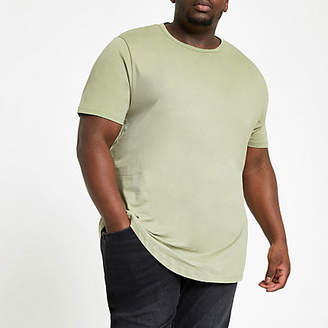 River Island Big and Tall green curve hem T-shirt