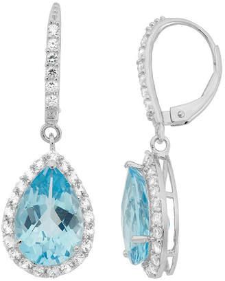 FINE JEWELRY Genuine Sky Blue Topaz & Lab-Created White Sapphire Sterling Silver Earrings
