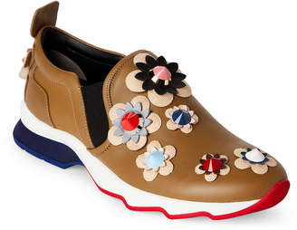 Fendi Olive Studded Floral Leather Slip-On Sneakers