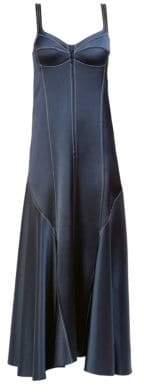 Cédric Charlier Contrast Topstitch Slip Dress
