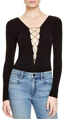 Alexander Wang Lace-Up Long Sleeve Bodysuit