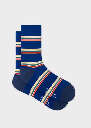 Paul Smith Men's Cobalt Blue Block-Stripe Cycling Socks