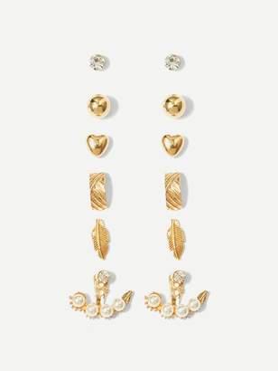 Shein Heart & Leaf Stud Earrings 6pairs