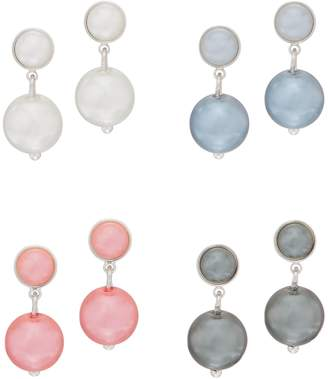 Joan Rivers Classics Collection Joan Rivers Set of 4 Clip or Pierced Simulated Pearl Ball Earrings