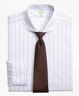 Brooks Brothers Milano Slim-Fit Dress Shirt, Non-Iron Double Alternating Stripe