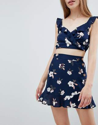 Pull&Bear dark floral skirt in multi