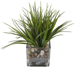 Highland Dunes Faux Grass in Square Glass Vase