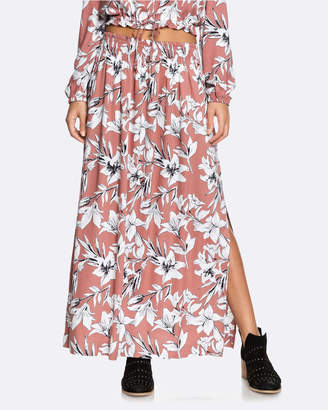 Roxy Womens Last Forever Floral Print Maxi Skirt
