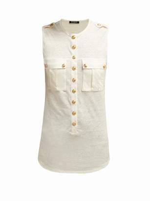 Balmain Chest Pocket Slubbed Jersey Top - Womens - White