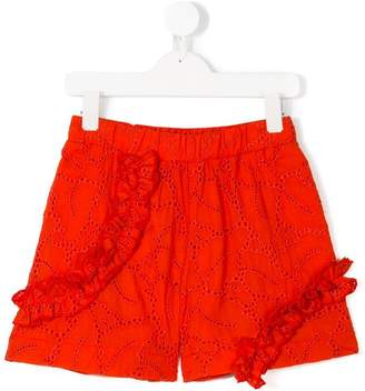 MSGM Kids embroidered ruffled shorts