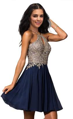 Lily Wedding Womens Halter Gold Applique Prom Homecoming Dresses 2018 Short Chiffon Evening Formal Gowns P199 Royal Blue