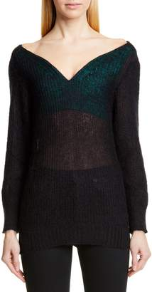 Y/Project Off the Shoulder Mohair Blend Sweater